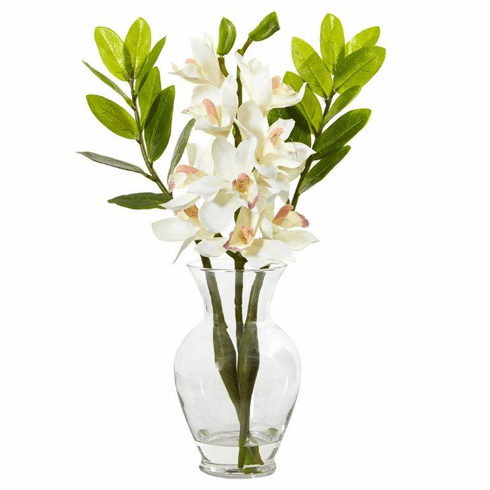 "19"" Cymbidium Orchid and Zamioculcas Artificial Arrangement - White"