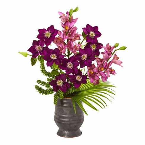 "28"" Cymbidium Orchid, Anemone, Succulent and Fan Palm Artificial Arrangement"