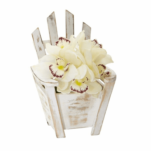 "8"" Cymbidium Orchid Artificial Arrangement in Chair Planter - White"
