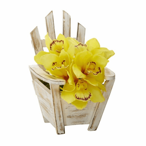 "8"" Cymbidium Orchid Artificial Arrangement in Chair Planter - Yellow"