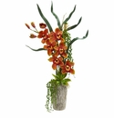 "31"" Cymbidium Orchid Artificial Arrangement in Planter - Burgundy"