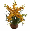 "30"" Cymbidium Orchid Artificial Arrangement in Planter - Yellow"