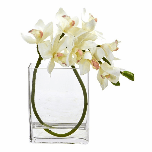 "13"" Cymbidium Orchid Artificial in Glass Vase - White"