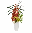 "37"" Cymbidium Orchid, Hydrangea and Tulip Artificial Arrangement - Burgundy"
