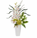 "37"" Cymbidium Orchid, Hydrangea and Tulip Artificial Arrangement - White"