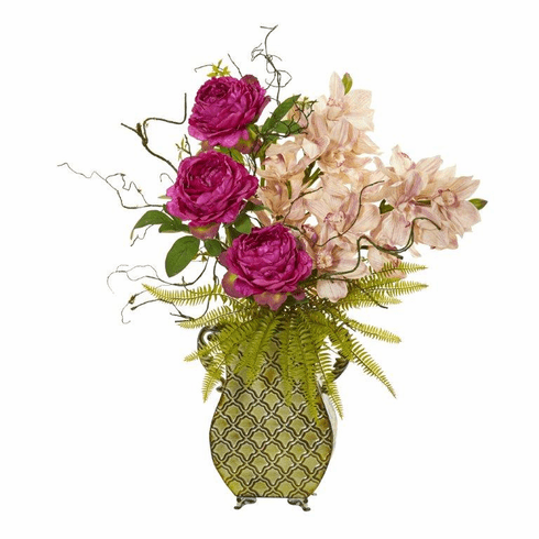 "29"" Cymbidium Orchid, Peony and Grass Artificial Arrangement"