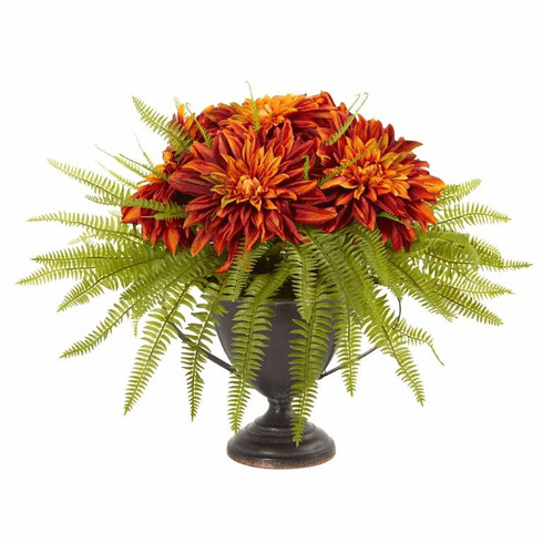 Dahlia and Fern Artificial Arrangement in Metal Goblet - Orange