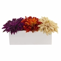 "6"" Dahlia Artificial Flower Arrangement in White Planter - Assorted"