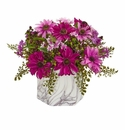 Daisy Artificial Arrangement in Marble Finished Vase - Pink