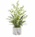 Dancing Lady Orchid Artificial Arrangement in Marble Finished Vase  - Green