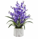 Dancing Lady Orchid Artificial Arrangement in Marble Finished Vase  - Purple