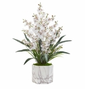 Dancing Lady Orchid Artificial Arrangement in Marble Finished Vase  - White