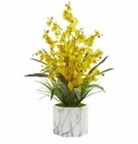 Dancing Lady Orchid Artificial Arrangement in Marble Finished Vase  - Yellow