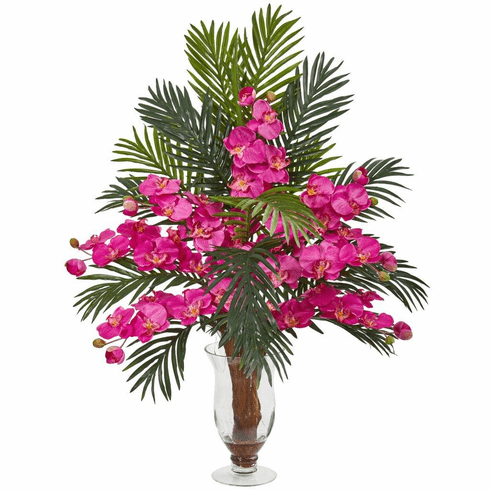 """30"""" Dark Pink Phalaenopsis Orchid and Areca Palm Artificial Arrangement"""