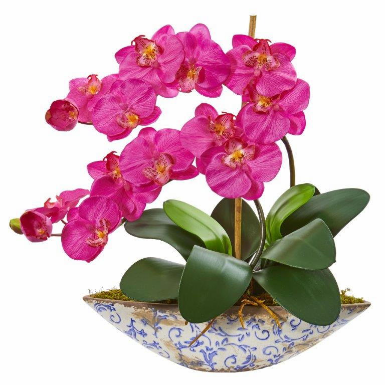 "16"" Dark Pink Phalaenopsis Orchid Artificial Arrangement in Vase"