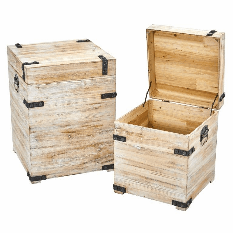 Decorative White Wash Storage Boxes-Trunks with Metal Detail (Set of 2) -