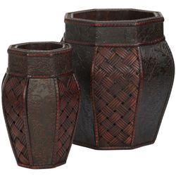 """10.5"""" - 12.5"""" Design and Weave Panel Decorative Planters (Set of 2)"""