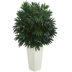 """37"""" Double Bamboo Palm Artificial Plant in White Tower Vase"""