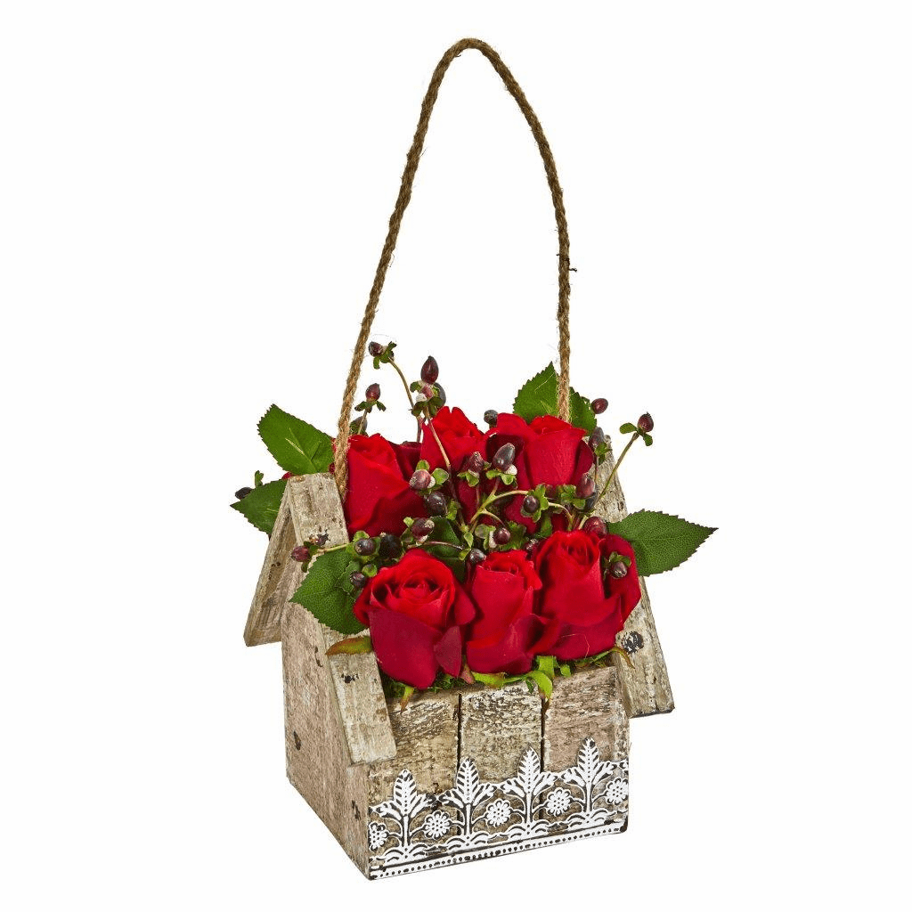 "15"" Elegant Rose Artificial Arrangement in Birdhouse Hanging Planter"
