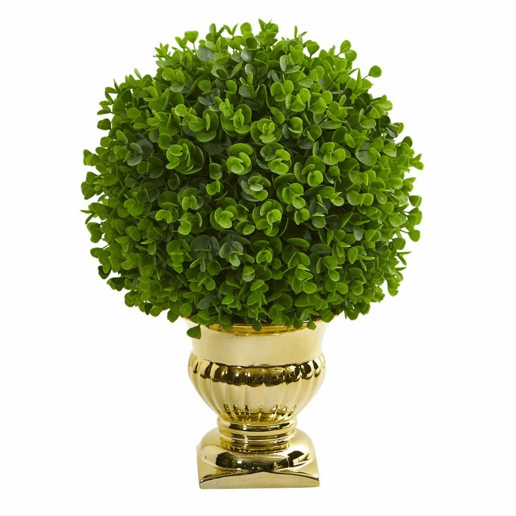 "17"" Eucalyptus Artificial Ball Topiary in Gold Urn"