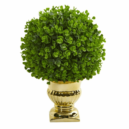 """17"""" Eucalyptus Artificial Ball Topiary in Gold Urn"""