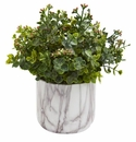 Eucalyptus Artificial Plant in Marble Finished Vase - Green