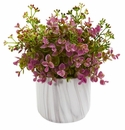 Eucalyptus Artificial Plant in Marble Finished Vase - Purple