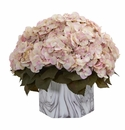 Fall Hydrangea Artificial Plant in Marble Finished Vase - Cream Pink