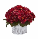 Fall Hydrangea Artificial Plant in Marble Finished Vase - Rust