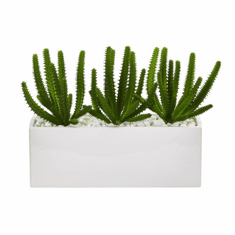 "9"" Finger Cactus Artificial Plant in White Vase"