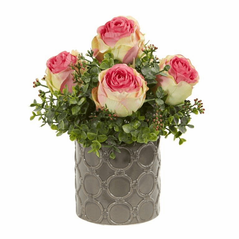 Fucshia 11� Roses and Eucalyptus Artificial Arrangement in Designer Vase