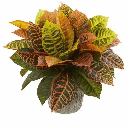 """16"""" Garden Croton Artificial Plant in Weathered Oak Planter (Real Touch)"""