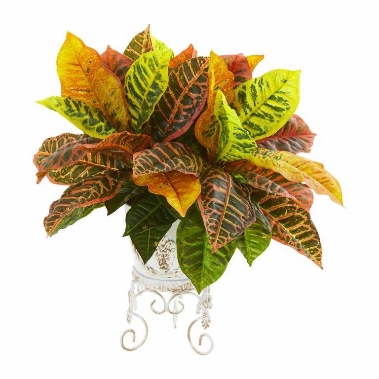 """19"""" Garden Croton Artificial Plant in White Planter (Real Touch)"""