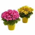 "12"" Geranium Artificial Plant in Ceramic Vase UV Resistant (Indoor/Outdoor) (Set of 2) - Beauty"
