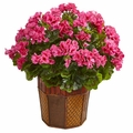 "18"" Geranium Flower Artificial Plant in Decorative Planter  - Pink"