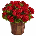 "18"" Geranium Flower Artificial Plant in Decorative Planter  - Red"