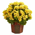 "18"" Geranium Flower Artificial Plant in Decorative Planter  - Yellow"