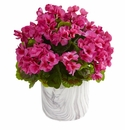 """13"""" Geranium Artificial Plant in Marble Finished Vase UV Resistant (Indoor/Outdoor) - Beauty"""