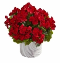 """13"""" Geranium Artificial Plant in Marble Finished Vase UV Resistant (Indoor/Outdoor) - Red"""