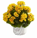 Geranium Artificial Plant in Marble Finished Vase UV Resistant (Indoor/Outdoor) - Yellow