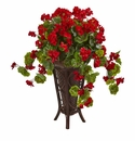 Geranium Artificial Plant in Stand Planter  - N/A