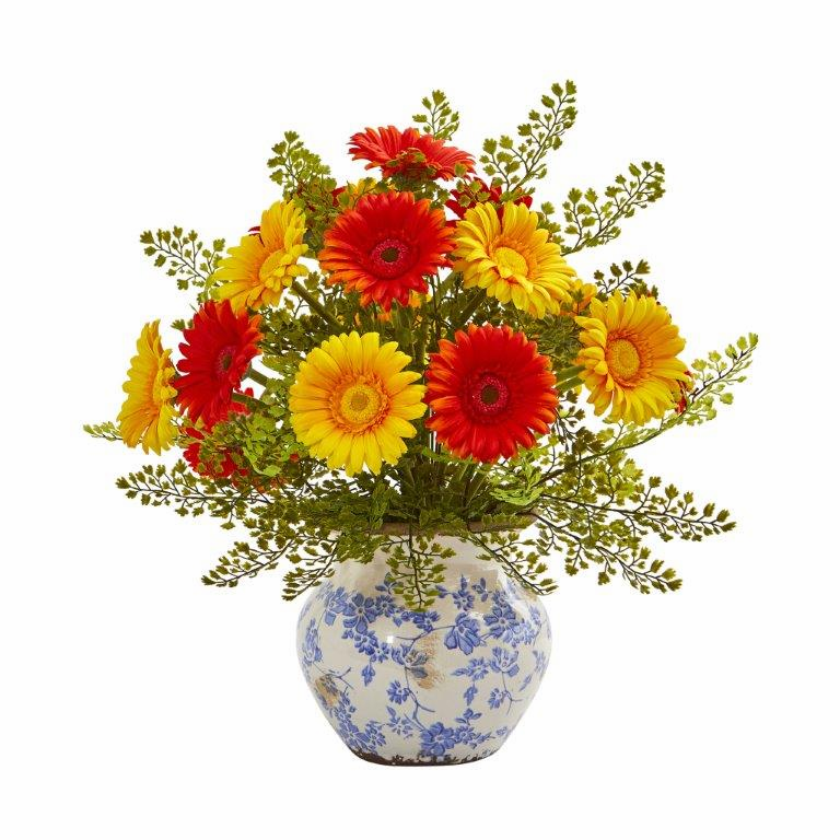 "17"" Gerber Daisy and Maiden Hair Artificial Arrangement in Vase - Assorted"