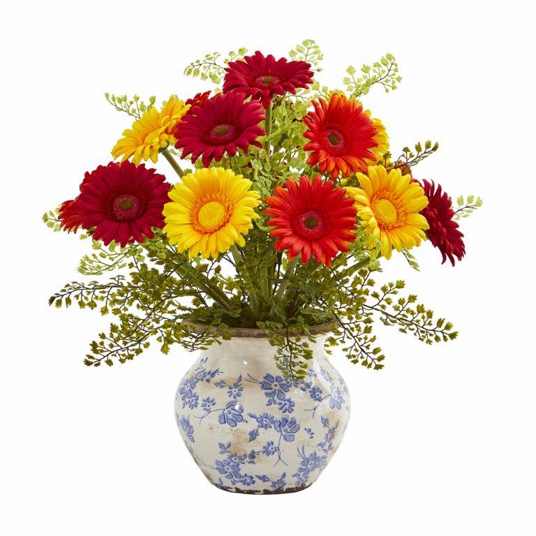 "17"" Gerber Daisy and Maiden Hair Artificial Arrangement in Vase - Assortment 1"