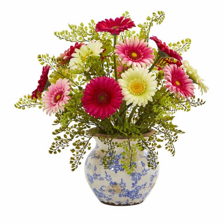 "17"" Gerber Daisy and Maiden Hair Artificial Arrangement in Vase - Assortment 2"