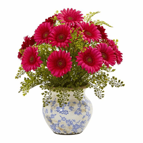 "17"" Gerber Daisy and Maiden Hair Artificial Arrangement in Vase - Beauty"