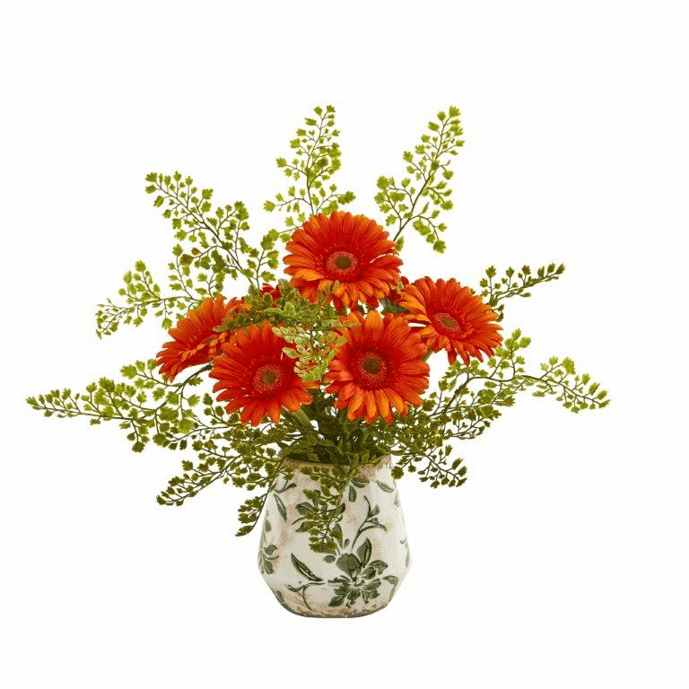 "16"" Gerber Daisy and Maiden Hair Artificial Arrangement in Vase - Orange"