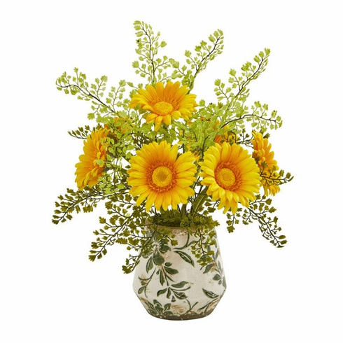 "16"" Gerber Daisy and Maiden Hair Artificial Arrangement in Vase - Yellow"
