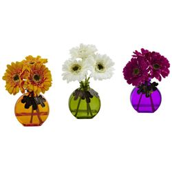 "9"" Gerber Daisy Artificial Flower Arrangement with Colored Vase (Set of 3)"
