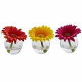 "4"" Gerbera Daisy Artificial Flower Arrangement in Glass Vase (Set of 3)"