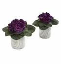 Gloxinia Artificial Plant in Marble Finished Vase (Set of 2) - N/A